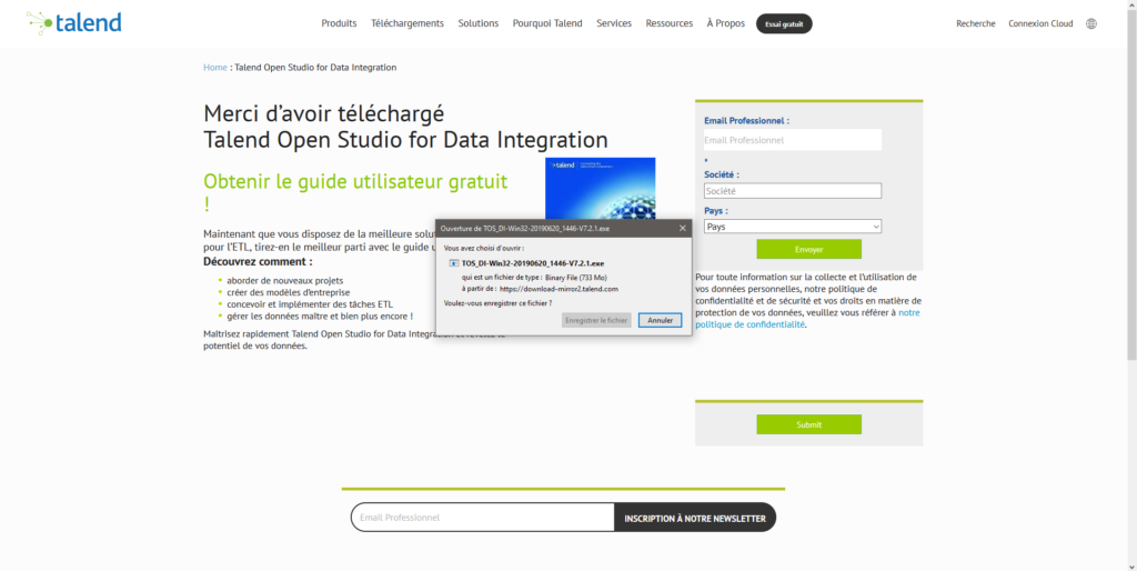 Page de confirmation du téléchargement de Talend Open Studio for Data Integration
