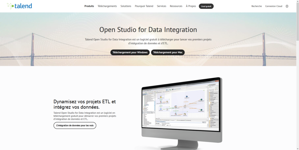 Téléchargement de Talend Studio for Data Integration sur le site officiel de Talend