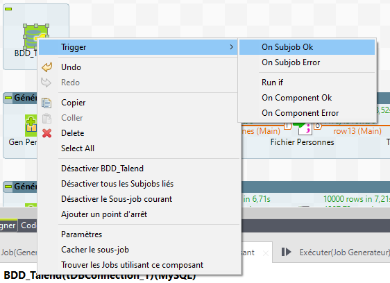 tDBConnection : trigger et clic sur On Subjob Ok dans le studio Talend
